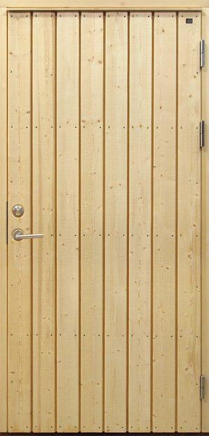 Ytterdörr med stående panel i obehandlad gran och furu