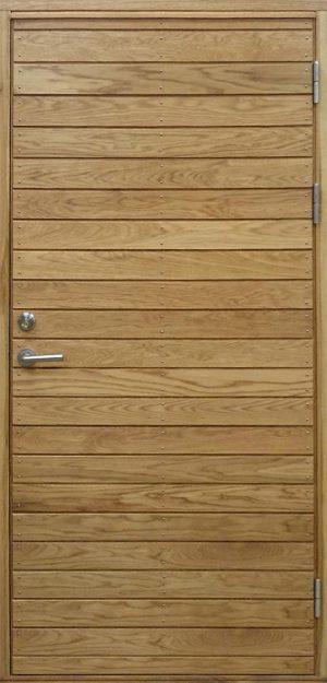 Ytterdörr i ek med liggande panel