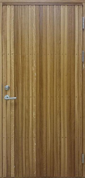ytterdörr med stående panel i ek