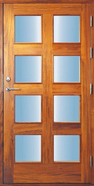 exklusiv ytterdörr i teak med glas